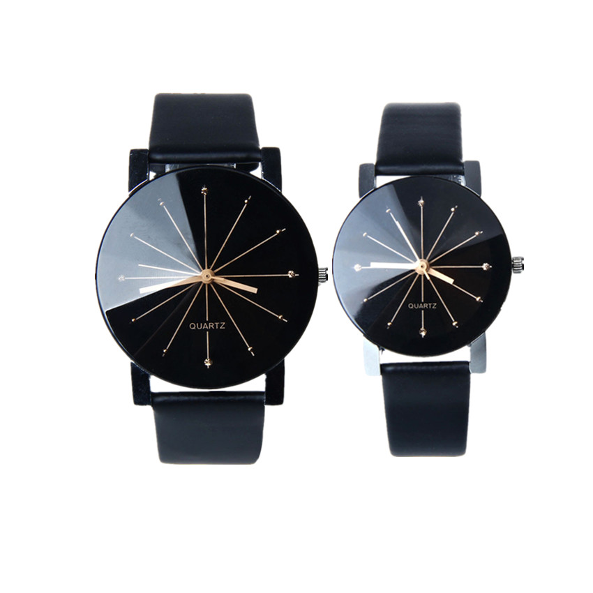 2018 Couple Watches Luxury Brand Men And Women Quartz Dial Clock Leather Wrist Watch Round Case Clock  A80