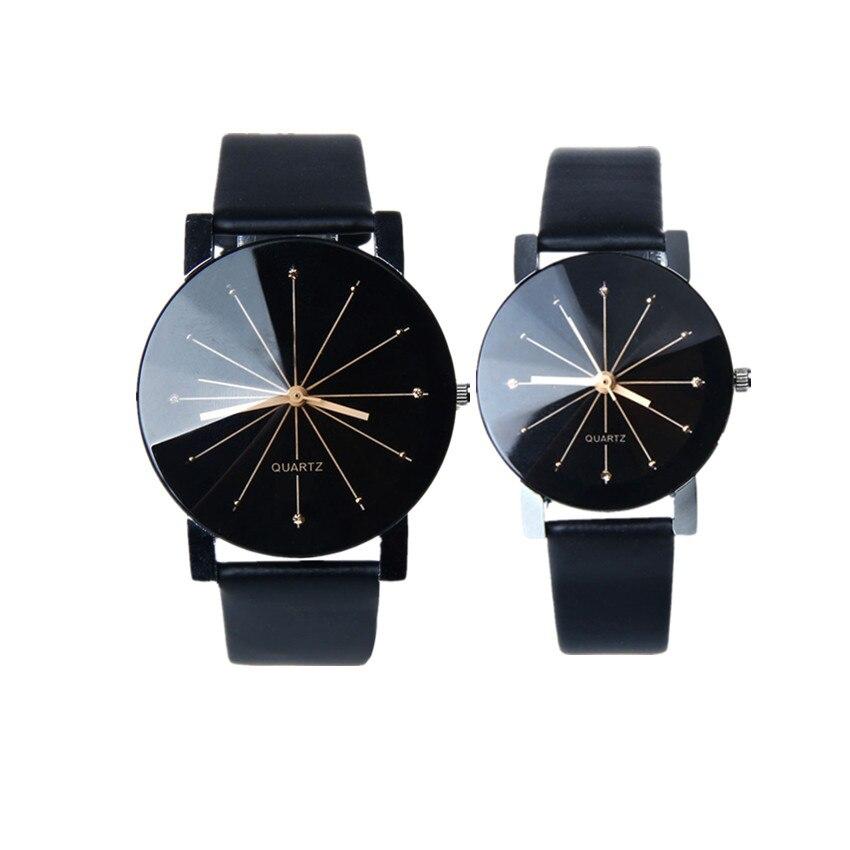 2018 couple watches Luxury brand men and women Quartz Dial Clock Leather Wrist Watch Round Case clock A80