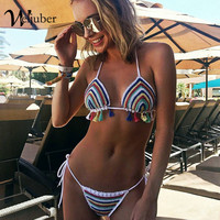 Weljuber Women Knitted Stripe Swimwear Sexy Push Up Swimsuit Bikini Sets 2018 New Beachwear Bathing Suit