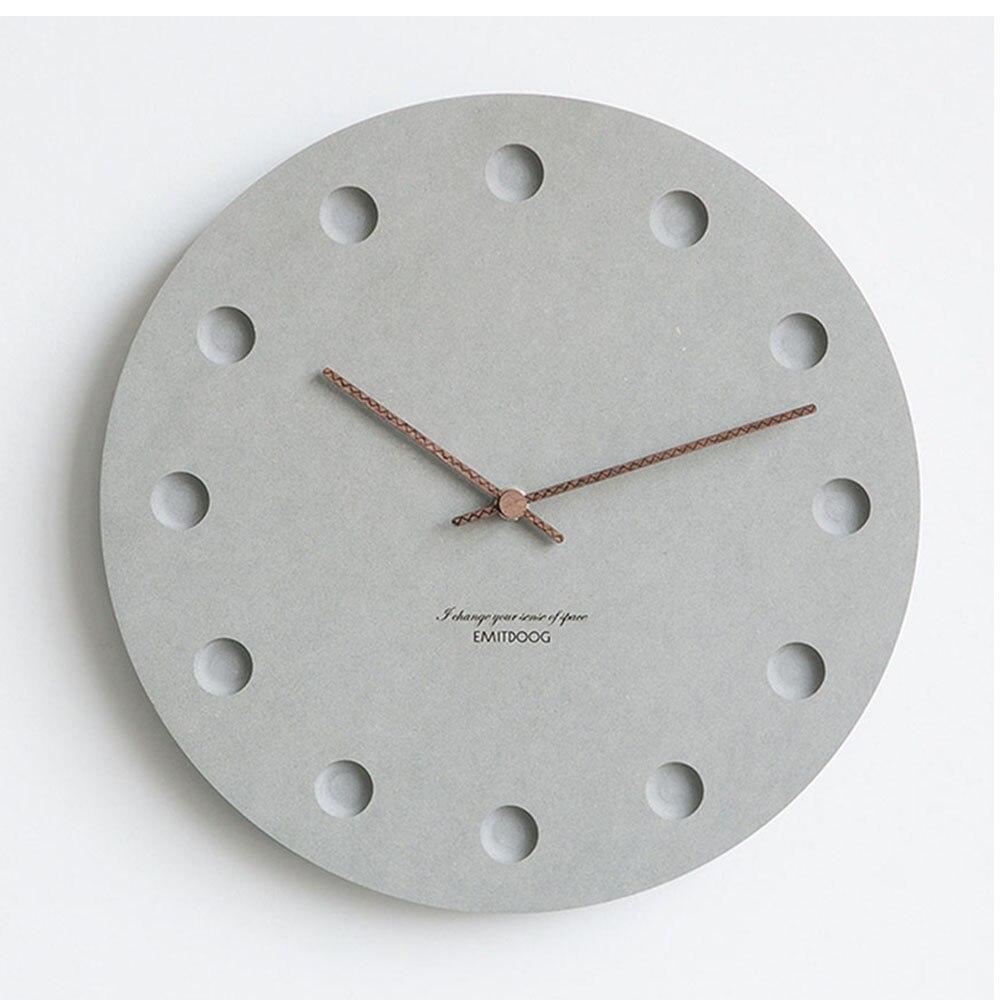 12 Inch Nordic Wall Clock Modern Creative Clock Minimalist Living Room Hanging Clock Bedside Mute Wood Clock Home Decor