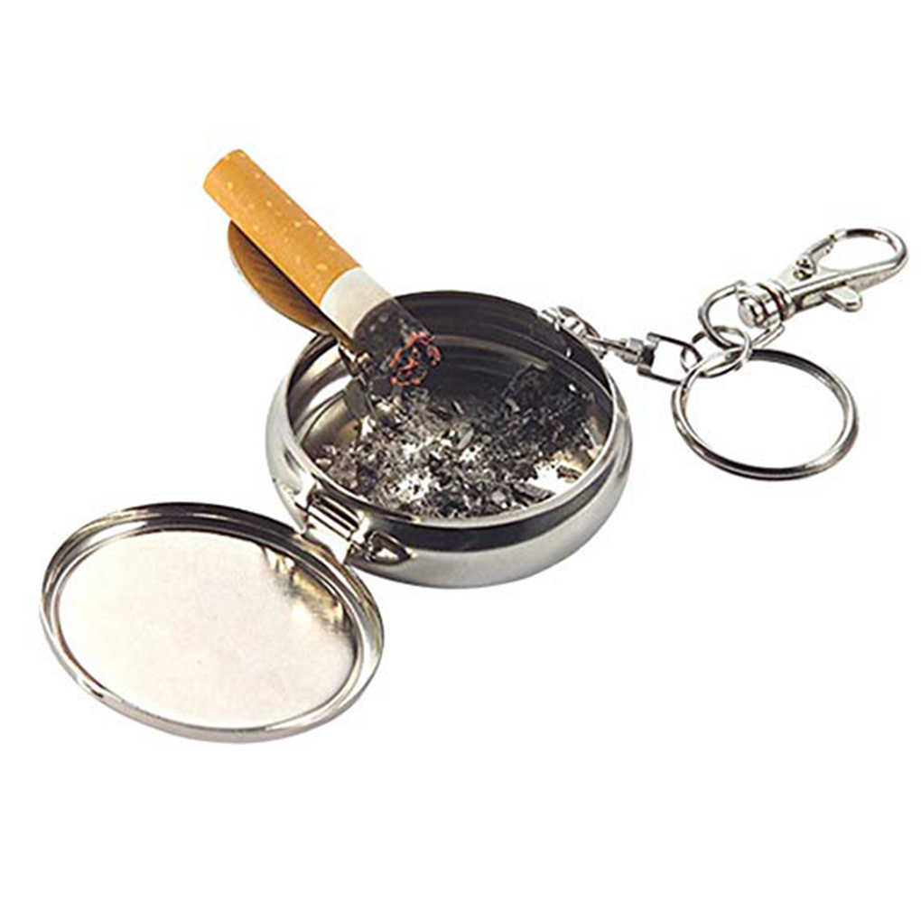 New Mini Outdoors Round Cigarette Keychain Portable Ashtrays Alloy Pocket Smoke Ash Ashtray Keychain Fashion