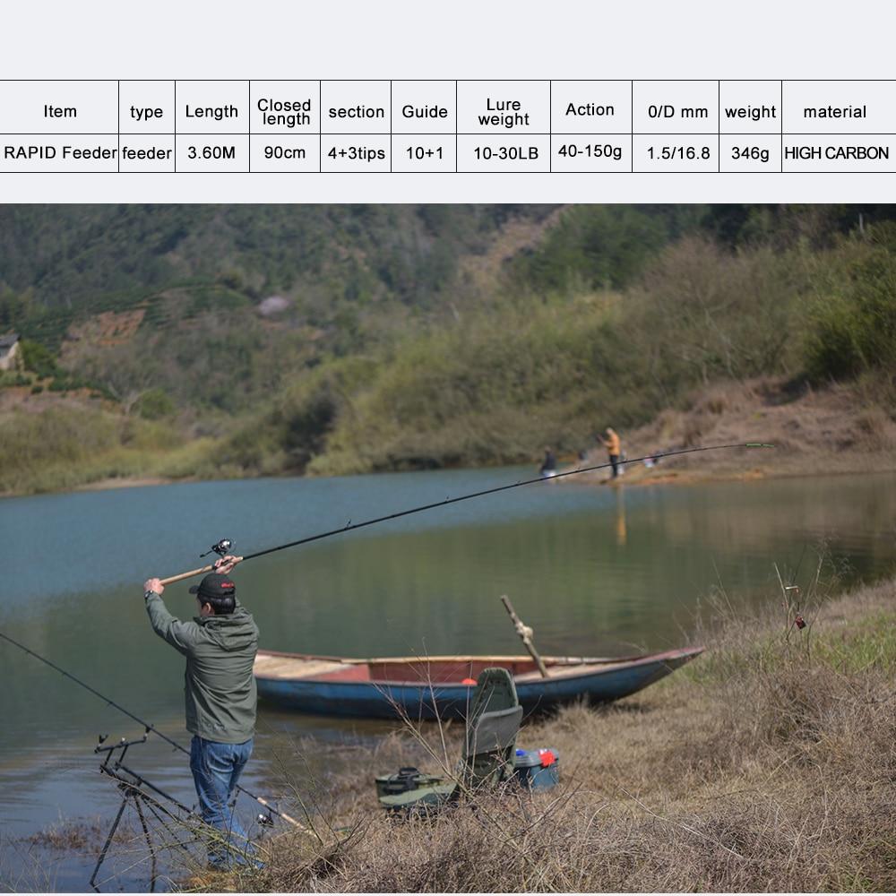 Obei mangeoire canne à pêche filature coulée voyage tige 3.6 m vara de pesca fuji carpe mangeoire 40-200g pôle - 2