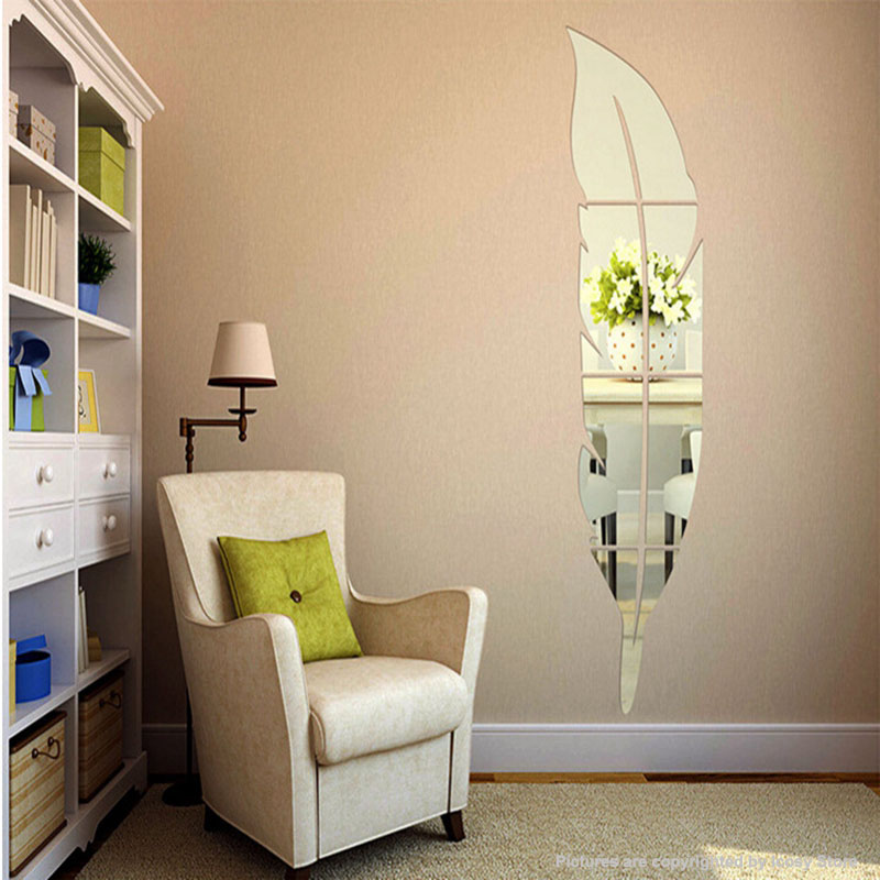 6Pcs/Set DIY Modern Feather Acrylic Mirror Wall Stickers ... on Room Decor Stickers id=40870