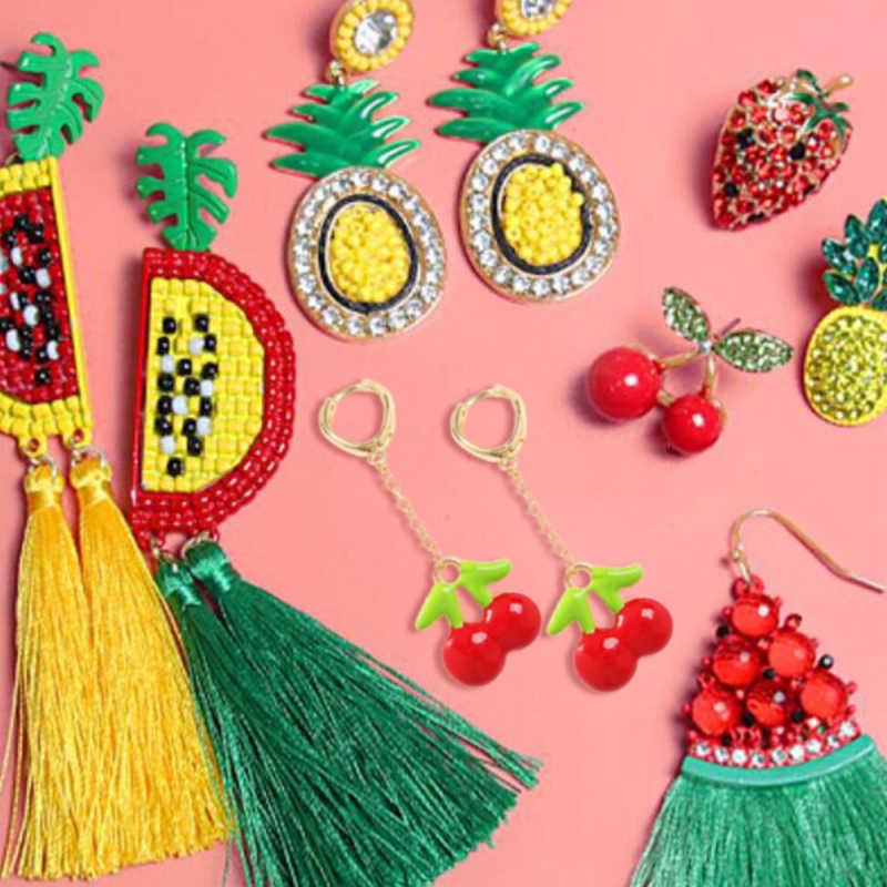 Lalynnlys милые серьги капли с вишневым арбузом и ананасом новые модные со стразами