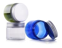 Miễn phí vận chuyển 50 cái/lốc 50 gam 100 gam 150 gam 200 g/ml Empty Nhựa Mỹ Phẩm PET kem jar, Chai kem với nhôm nắp