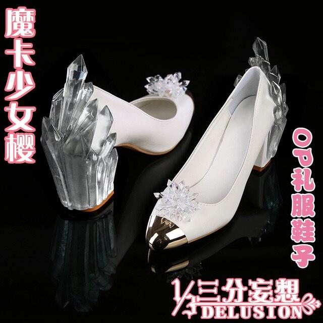15cbc9d42e72 Cardcaptor Sakura Clear Card Sakura Kinomoto op White Dress Crystal Shoes  Cosplay Fairy Chunky Heels High-heeled Shoes Free Ship