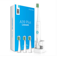LANSUNG 220V A39Plus Ultrasonic Electric Toothbrush Rechargeable Sonic Wireless Electric Tooth Brush 4 Replacement Brush Heads