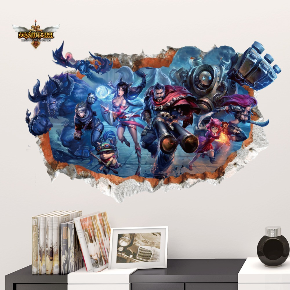 League Of Legends Lol Online Game Theme Poster Wallpaper Sticker Mural For Kids Boys Rooms Home Decor 3d Smashed Decals