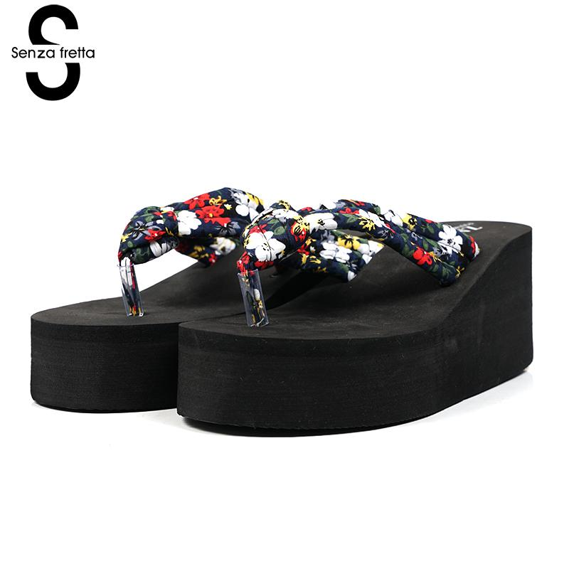 Senza Fretta Summer Flip Flops Wedge Platform Flip Flops Woman Shoes Beach Sandals Ladies Print Flower Thick Cool Slippers Shoes senza fretta women shoes bohemia slippers flowers flip flops women poe platform wedge flip flops outdoor beach flip flops shoes