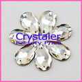 Free Shipping 13x22mm crystal sew on rhinestones crystal clear color 2 holes teardrop Sew on Stones  silver base
