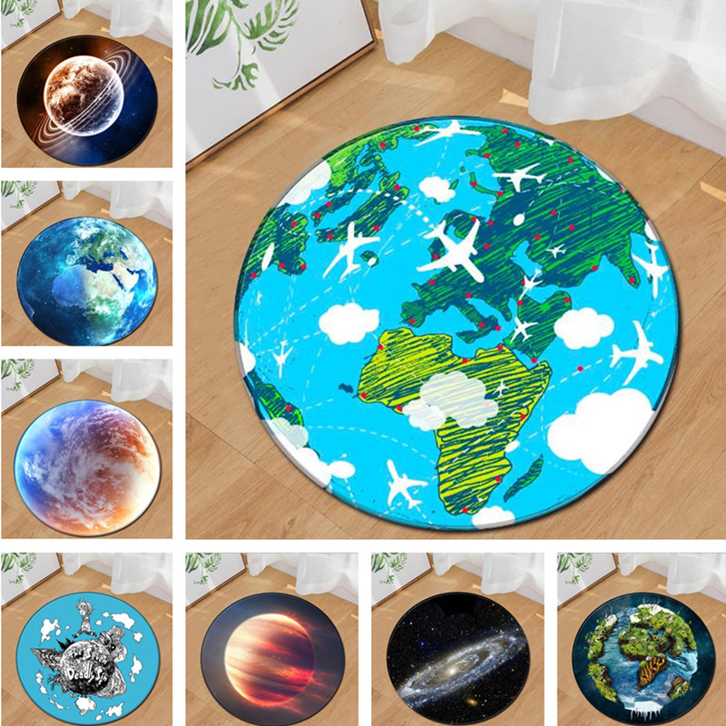 earth Planet round carpet for livingroom bedroom kids room playmat computer chair cushion soft sofa rug door tapetes floor MATS