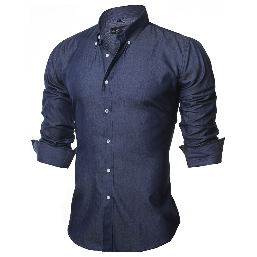 d5006ae7a11f Long Sleeve Denim Shirts Men Casual Shirt Fashion Slim Mens Jeans ...