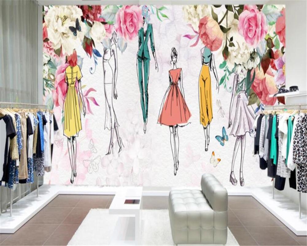 D Fashion Beauty Supply: Beibehang Custom 3D Wallpaper Watercolor Flower Beauty