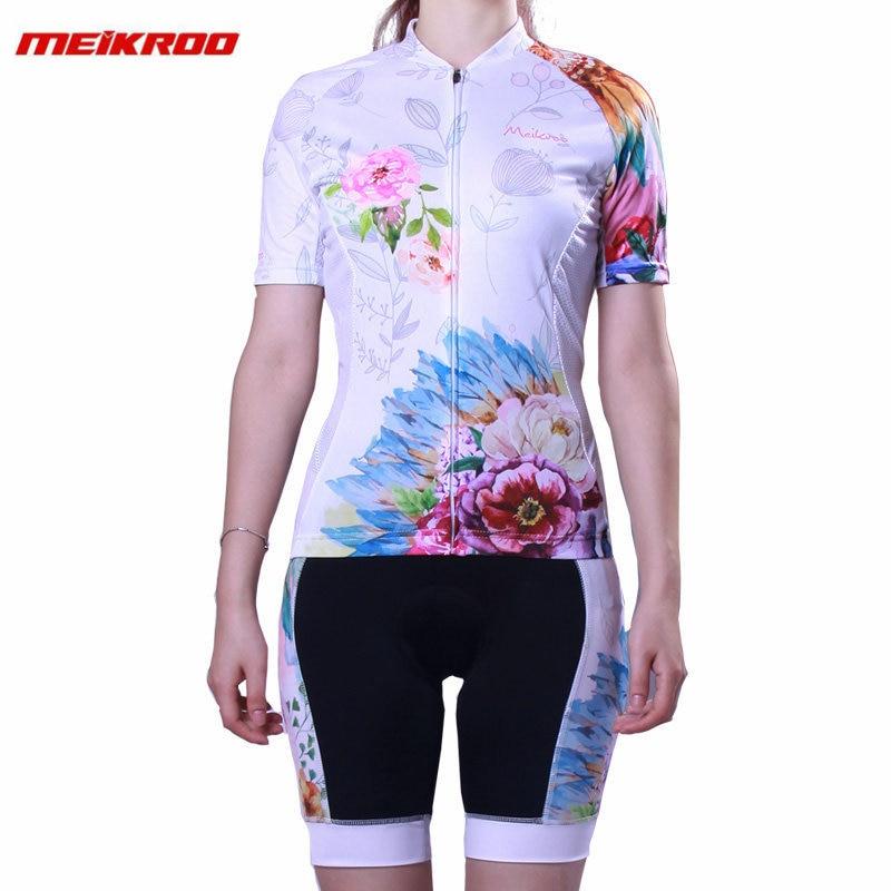 Meikroo Summer Short Sleeve Cycling Jersey Set Sweat W Women MTB Bike Clothing Pro Read Bicycle Jerseys