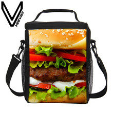 VEEVANV Brand 2017 Hamburger Image of Food 3D PU Prints Insulated Lunch Bag PU Cooler Picnic Food Bag for Women Field Lunch Bags