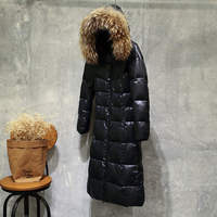 Jaqueta Feminina Inverno Winter Jacket Women Thick Black Gray Duck Down Jacket Raccoon Fur Collar Long Parkas Jacket Coat 1653