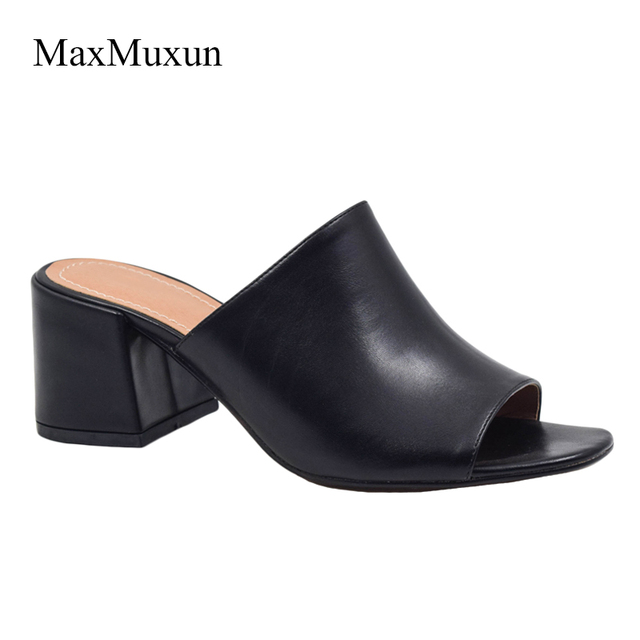 cd65f0ba9c5b MaxMuxun Women Sexy High Heel Mules Clogs Black Peep Toe Platform Mules  Ladies Leather Sole Slippers
