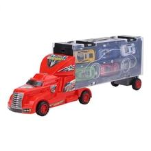 MRY Portable Plastik Model Truk   12 Paduan Mainan Mobil Anak Laki-laki Anak-anak Natal Hadiah Transportasi Truk Pengangkut Mobil Mainan