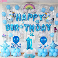 QIFU 1 Birthday Boy 1st Party Decorations Kids My First Blue Decor Foil Balloons Baby I AM ONE YEAR