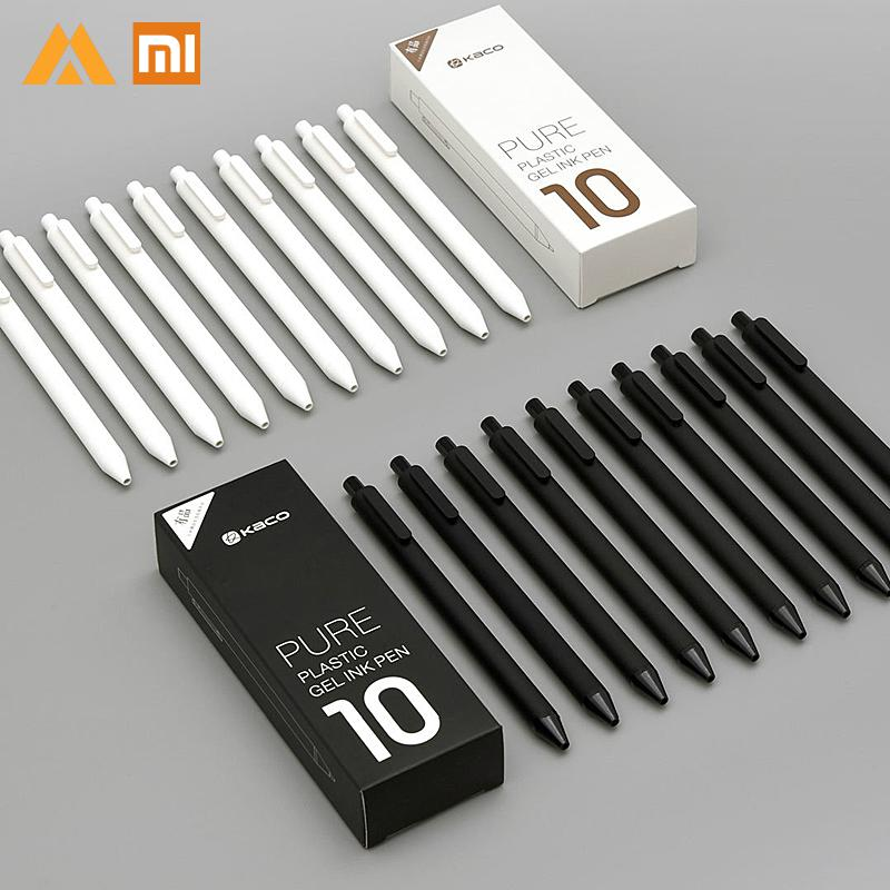Xiaomi Mijia KACO 0.5mm Xiomi Mi Signing Pen Gal Ink Smooth Writing Durable Signing Black ink Refill 10Pcs/Lot Ballpoint Pens