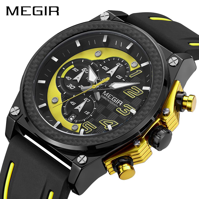MEGIR Quartz Men Sport Watch Big Dials Silicone Strap Army Military Watches Clock Men Chronograph Wristwatches Relogio Masculino megir men sport watch waterproof chronograph silicone strap quartz army military watches clock luxury male relogio masculino