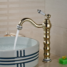 Antique Golden Finish Brass Bathroom Sink Faucet Deck Mount Hot Cold Water Mixer Taps