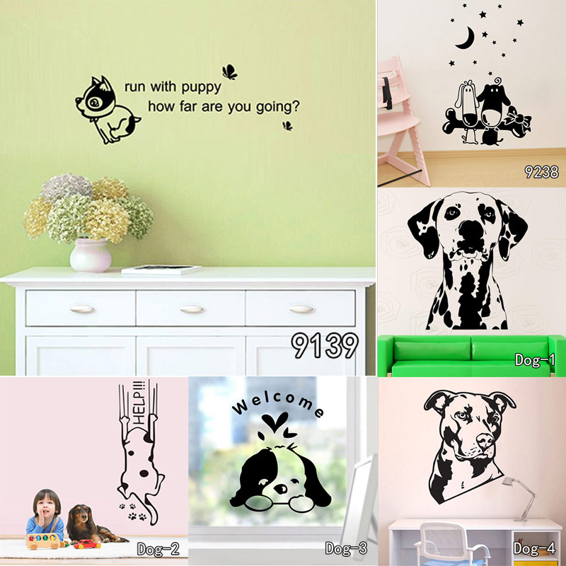 Boxer Dog Wall Decal Vinyl Sticker Cute Dogs Wallpaper Kids Wall ...