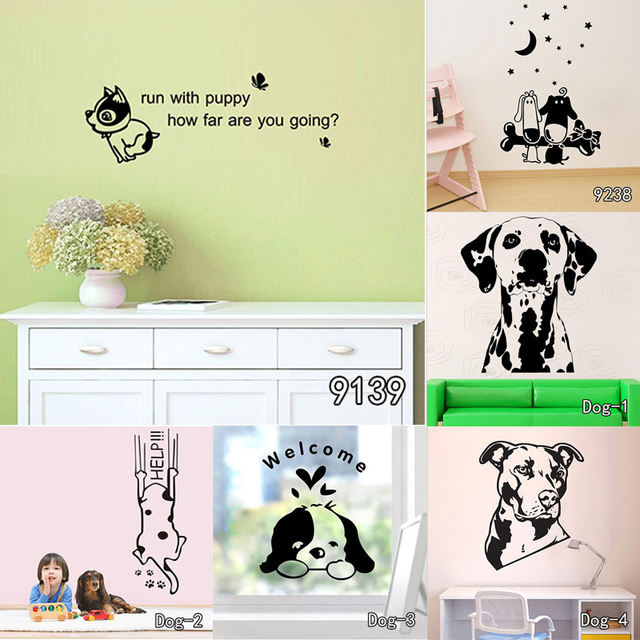 Online Shop Boxer Dog Wall Decal Vinyl Sticker Cute Dogs Wallpaper ...