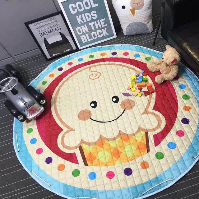 Colorido niños jugando manta de juguete bolsa de almacenamiento para niños organizador de juguete bebé Kawaii alfombra