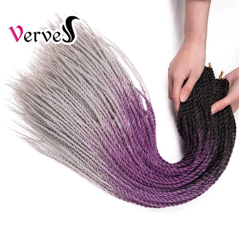 VERVES Ombre Senegalese Twist Hair Crochet braids 24 inch 30 Roots/pack Synthetic Braiding Hair extension grey,bonde,pink,brown
