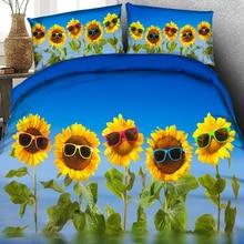3D Printed Prosperous Sunglasses Sunflower Quilt Cover Beddi