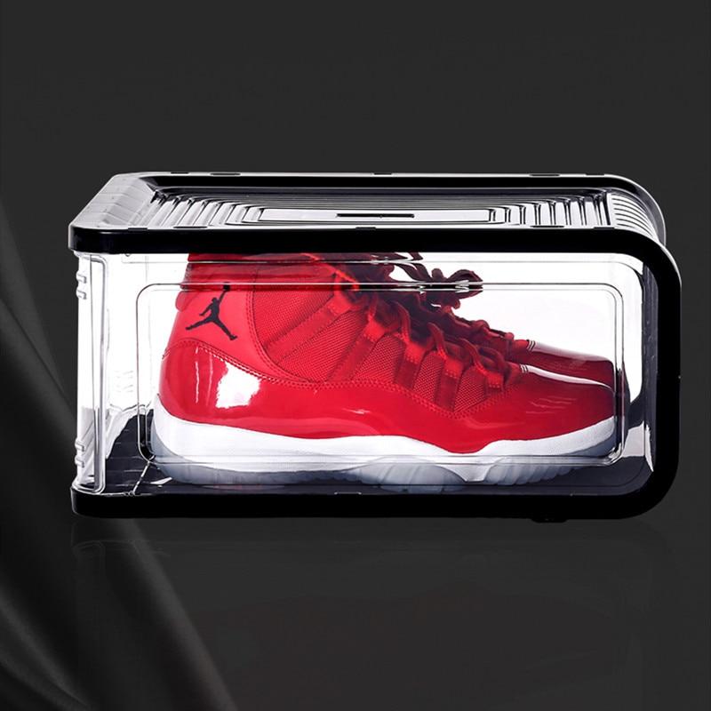 Three Sides HD Transparent Visual Shoe Box Sneakers Storage Organizer Plastic Ladies Boots Storage Box for
