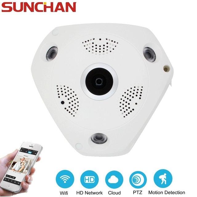 SUNCHAN WIFI Indoor Fisheye Security Camera 960P IP Camera 1.3MP Wireless Panoramic VR Camera  Remote View Free Smartphone APP
