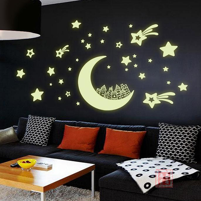 Night Light Luminous Stickers Home Decor Home Decoration Wall Sticker for Kids Rooms Wall Decals MOON AND STARS
