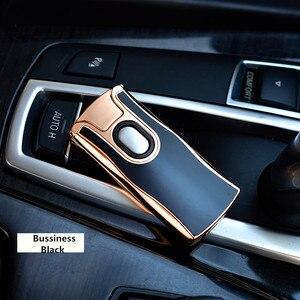 Image 4 - Новинка 2017 года USB электрическая двойная дуговая металлическая зажигалка перезаряжаемая плазменная Зажигалка сигарета Сенсорное зондирование импульсный крест гром Ligthers