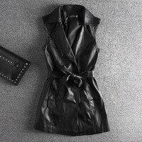 Pu Jacket Woman Vests Sleeveless Regular Length V Neck Zipper Sashes Spring Fashion 2018 Streetwear