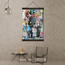 Graffiti Pictures Framed Scroll Painting HD Wall Art Hanging Canvas Printed for Living Room Decoration