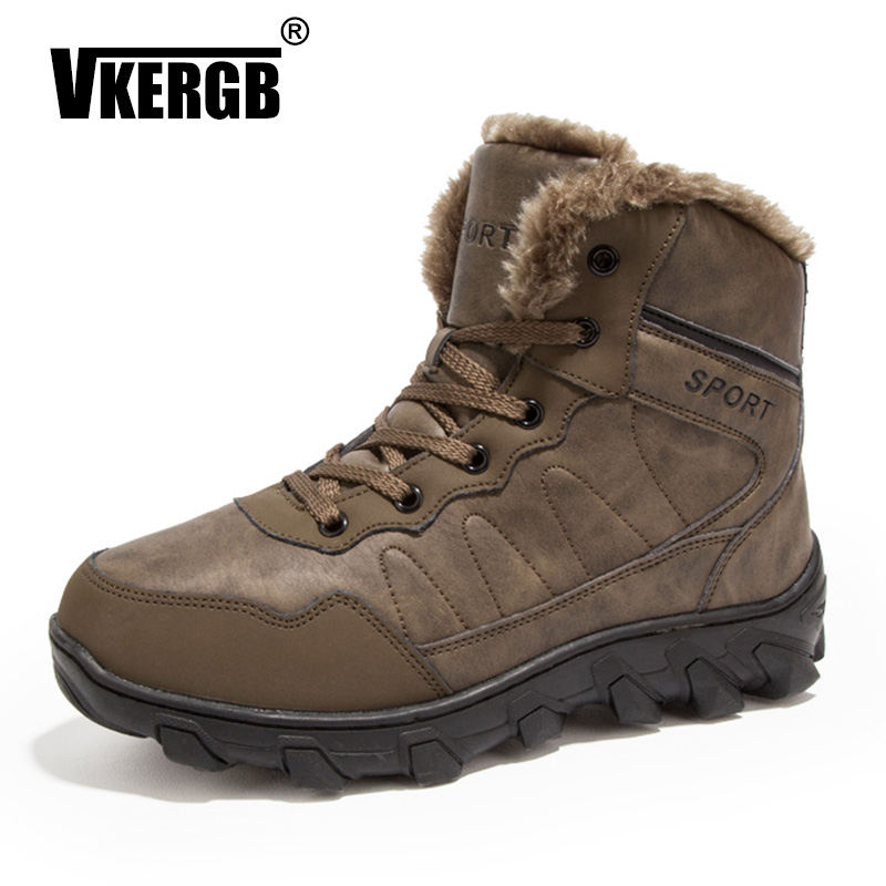 VKERGB Winter Boots Male Snow Ankle Boots Fur Warm Male Boots Men Casual Shoes Suede Leather