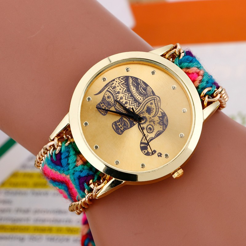 Relojes mujer 2016 bayan saatleri Fashion Bracelet watch Women Braided Elephant Round dial Quartz Watch Clock Female wristwatch ...