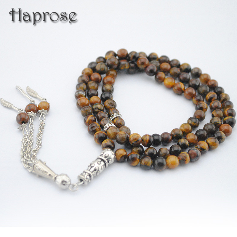 Natural 99 beads brown tiger eyes Stone round Shape 6 8mm Tesbih Prayer beads Tasbih Allah rosary Islamic muslim tasbih