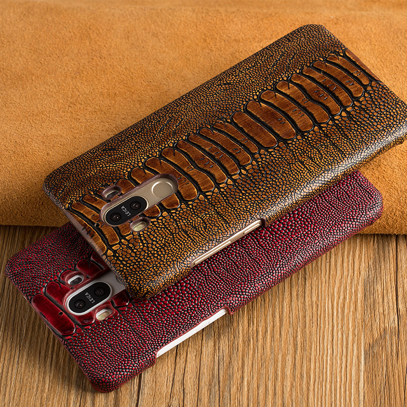Case For Google Pixel 2 XL Case Genuine Leather Back Cover Luxury Ostrich Foot Skin Texture Top Layer Cowhide Cover