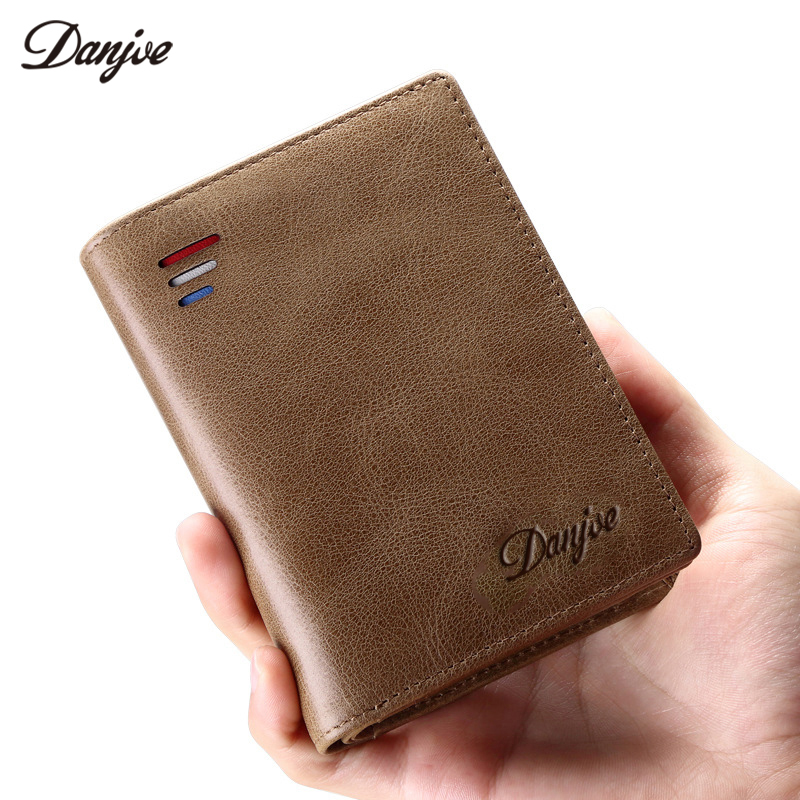 DANJUE Men Wallets Genuine Leather Male Purse Multi Functional Zipper Coin Pocket Real Cowhide Wallet Men Vintage Card Holder
