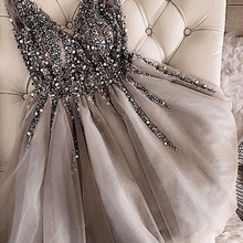 Sparkle Crystal Beaded Short Homecoming Dresses Gray Cocktai