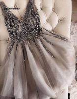 Sparkle Crystal Beaded Short Homecoming Dresses Gray Cocktail Dress Double V neck Sexy Shiny Mini Prom Gowns Abiye Vestidos