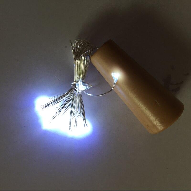 2PCS / Lot 2M 20 LED Cork Bottle Stopper berbentuk LED String Lights - Pencahayaan perayaan - Foto 5