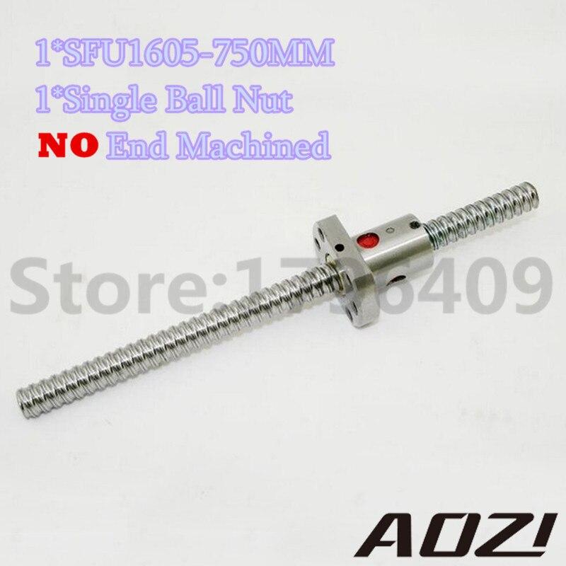 SFU1605 Ballscrew 750mm Set : 1 pc SFU1605 Ball Screw - L750mm + 1 pc 1605 Ball Screw Nut For CNC Parts noulei sfu 1605 ball screw price cnc ballscrew 1605 900mm ball screw nut sfu1605 l900mm