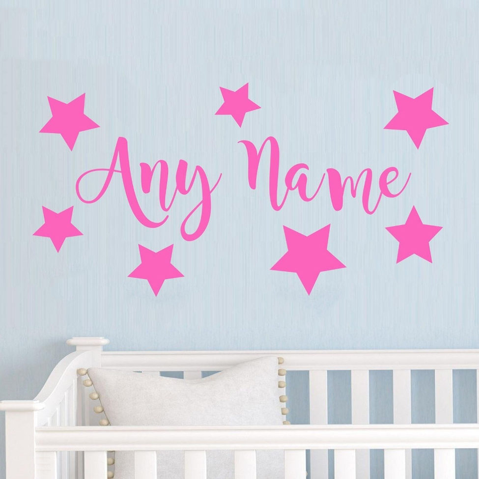 Personalized Stars Any Name Vinyl Wall Sticker Art Decal Kids Bedroom Wall stickers for kids room Living room Vinyl Mural D615