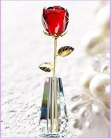 Adeeing Adeeing 1pc Romantic Love Forever Crystal Rose Flower With Gold Leaves For Birthday Valentine S