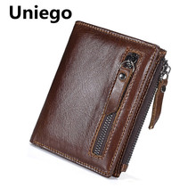 Uniego Genuine Leather Men Wallets Short Coin Purse Small Vintage Male Wallet Cowhide Leather Card Holder Pocket Men Wallet HB83 цена в Москве и Питере