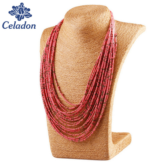 Bohemian Style Colorful 20 Layers Of Hand-woven Beaded Collar Bib Necklace Statement Necklace Women's Fashion Accessories